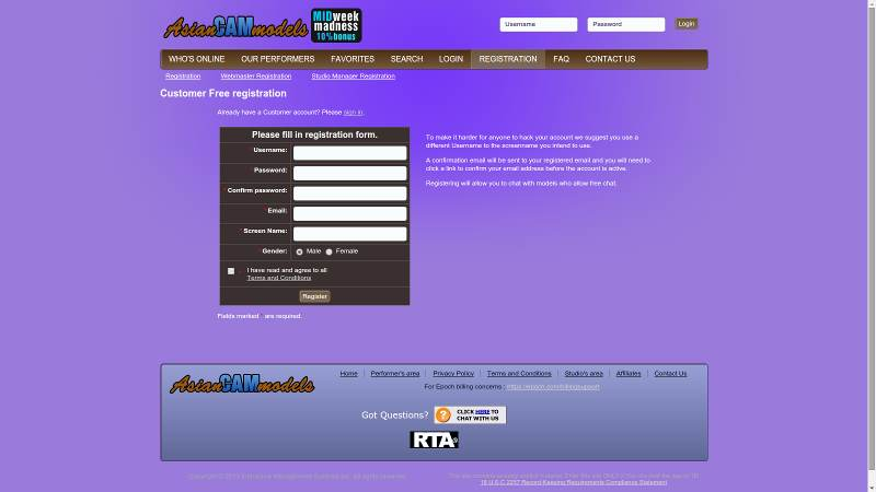 Registration at AsianCamModels.com