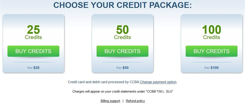 25 bonus credits on any credit package when you buy for the first time