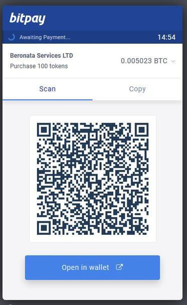 Complete the purchase with Bitcoin