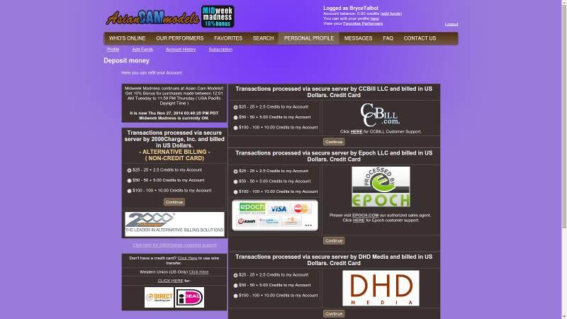 Buying credits at AsianCamModels.com