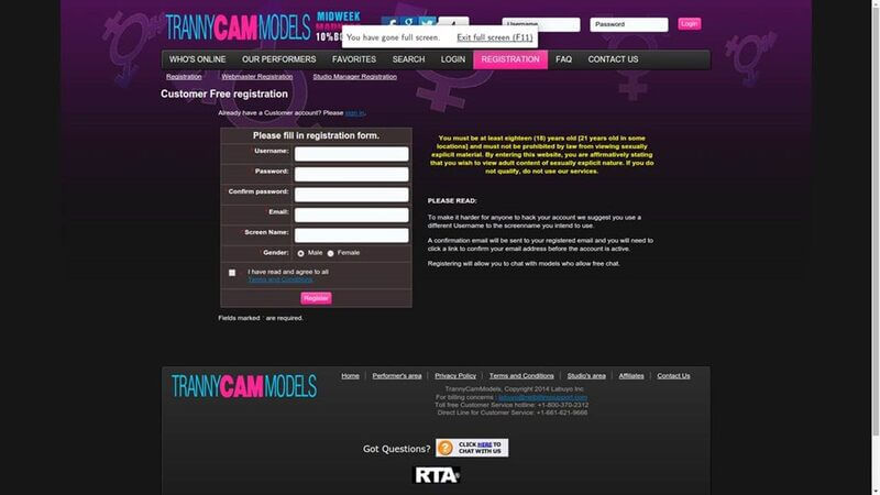 Registration at TrannyCamModels.com