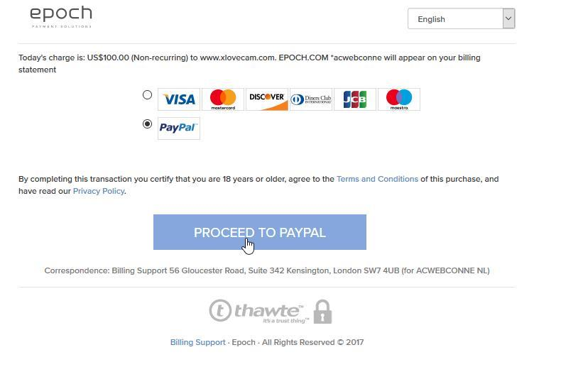 XLoveCam final payment page