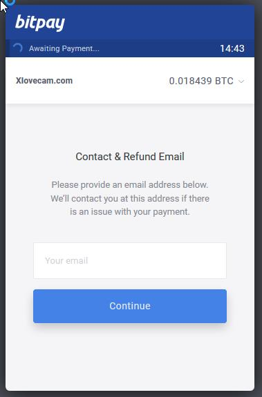 XLoveCams Bitcoin payment confirmation
