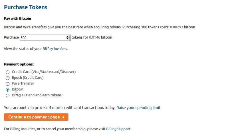 Chaturbate's payment page